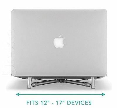 Steklo - MacBookおよびPCラップトップ用Xスタンド、アルミ製調節可能/ポータブル、冷却用ユニバーサルスタンドf