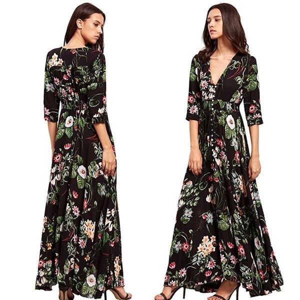 Bohemian V Neck Print Big Swing Long Dress