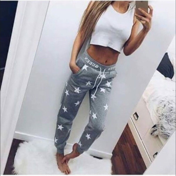 Women Fashion Sexy Star Print Drawstring Pencil Pants Casual Sports Outdoor Active Pants