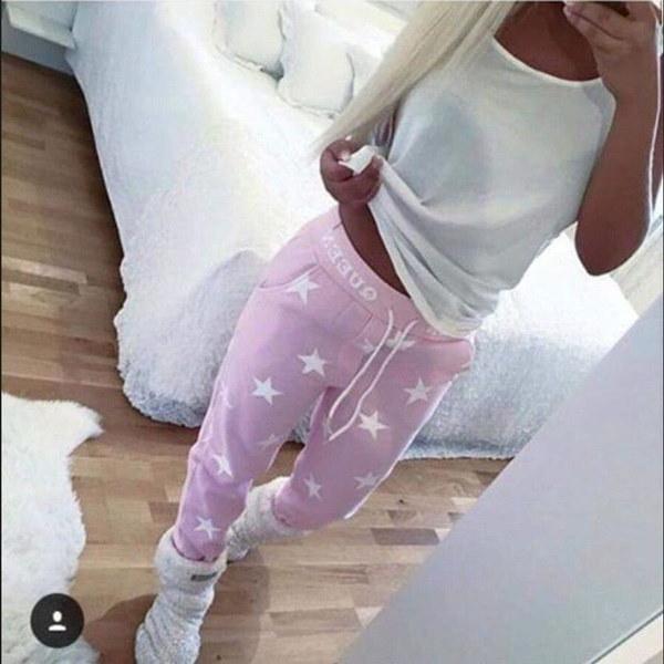 Women Fashion Sexy Star Print Drawstring Pencil Pants Casual Sports Outdoor Active Pants