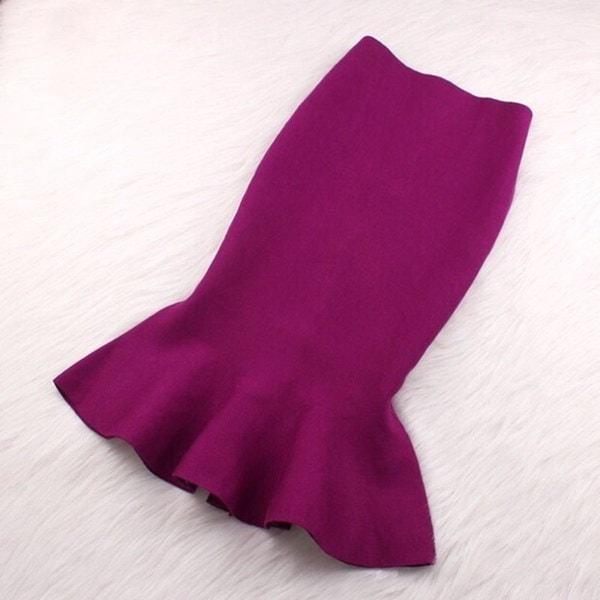 Hitz Ladies Flouncedスカートパッケージヒップニットストレッチフィッシュテールスカート1ピース