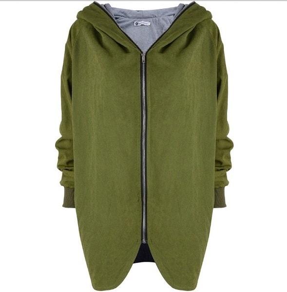 XL-5XL暖かい冬の女性ジップフード付きパーカーオーバーコートジャケットコートトレンチアウトウェアカーディガン