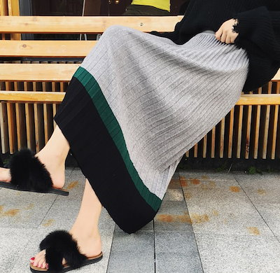 韓国ファッション オルチャン ニット プリーツスカート レディース スカート ロング丈 配色スカート バイカラー アプリコット グレー 黒 全3色 秋 冬 新作 P2038