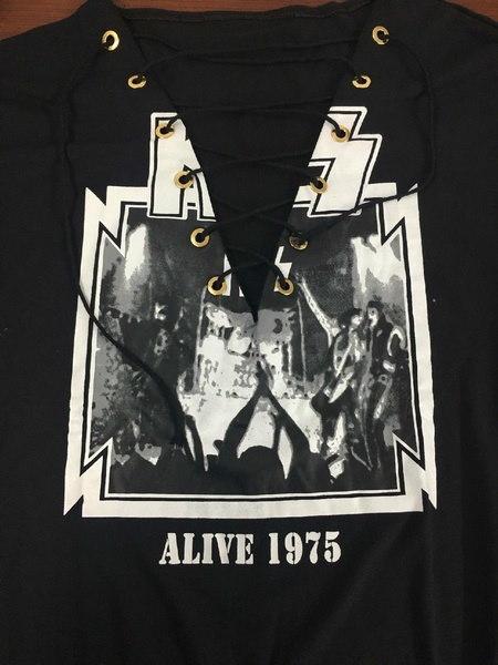 クールロックALIVE 1975プリントレトロレースアップオーバーサイズバンドTシャツ