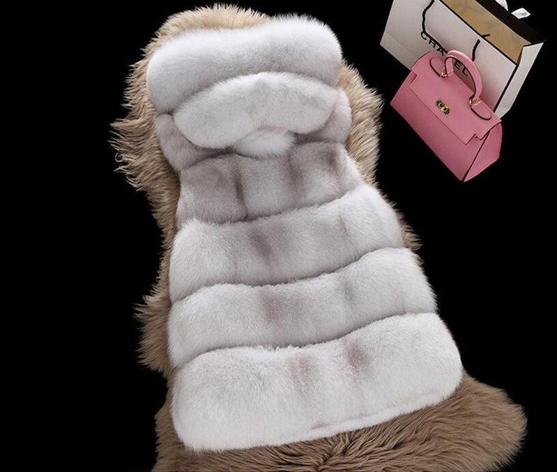 s3 美品 人工フォックス♪ 毛皮ベスト♪ ファー   フェイクファー♪