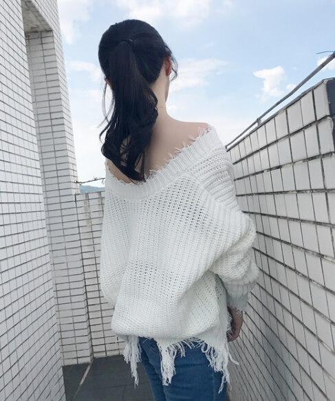 秋冬新作★レディーストップス★ニット セーター ブラウス ゆったり V襟 定番