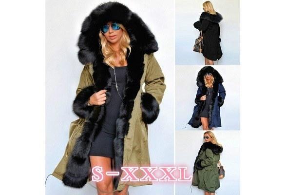 女性ウィンターロングウォームシックパーカーフェイクファーフード付きロングスリーブジャケットフード付きコート