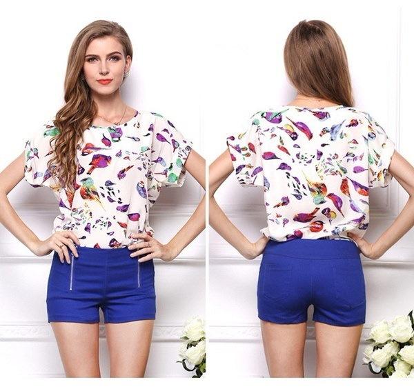 S-XL新しい女性カラフルなスタイルシフォンブラウスシャツレディースファッションバットウィングショートスリーブルーズブラウスに
