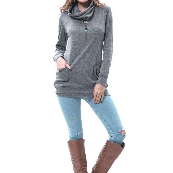 女性長袖ボタンカウルネックカジュアルソリッドセーターシャツポケット付きトップス