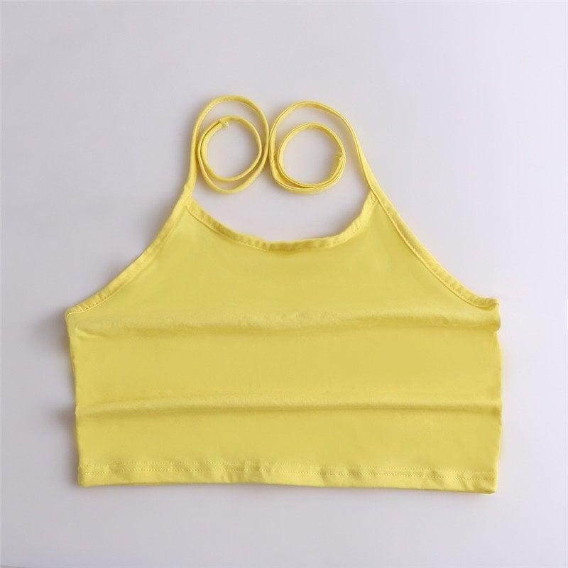夏セクシーなクロップトップ女性のタンクトップホワイト/グレーホルターベストレディースカジュアルキャミソールクロップドシャツ女性