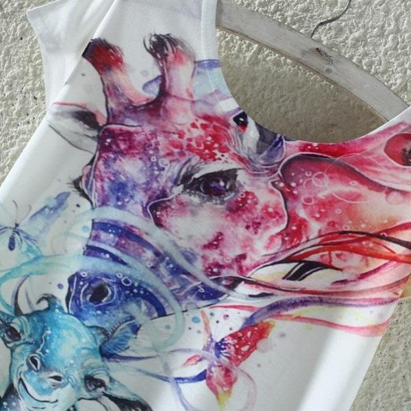 フォローミーショップ新着レディースOネック半袖不規則なビーチTシャツ女性3Dプリントカラーフー
