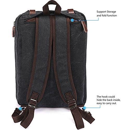 Laptop Backpack,Hybrid Multifunction Briefcase Messenger Bag with Shoulder Strap Canvas BookBag f.