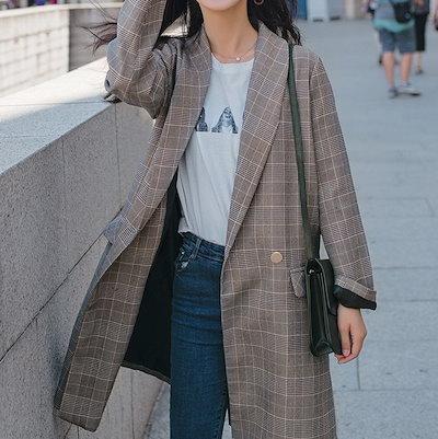 2018 秋冬物 人気の新作 ひざ丈 コート アウター チェック シック 通勤 大人女性 レトロ I0165