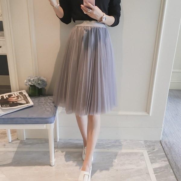 Tulle Skirts Womens Black Gray White Adult Tulle Skirt Elastic High Waist Pleated Midi Skirt