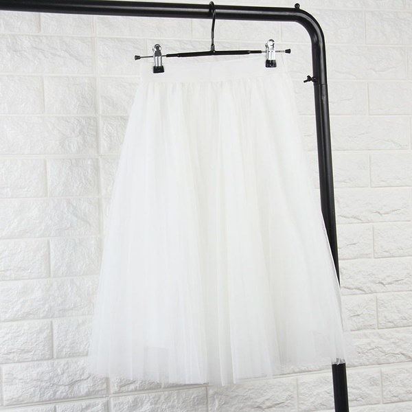 Tulle Skirts Womens Black Gray White Adult Tulle Skirt Elastic High Waist Pleated Midi Skirt