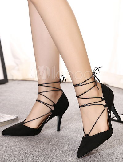 Black Sandals Lace Up Pointed Toe Suede Heels for Women