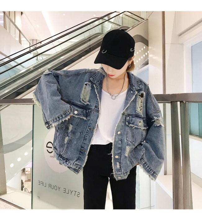 レディス服 女性トップス アウター コート ジャケット 長袖 ボタン デニム カジュアル 韓国ファッション 流行 ロック オーバーサイズ ショート丈 ガーリー 原宿風 個性 パフ袖 ダメージ加工