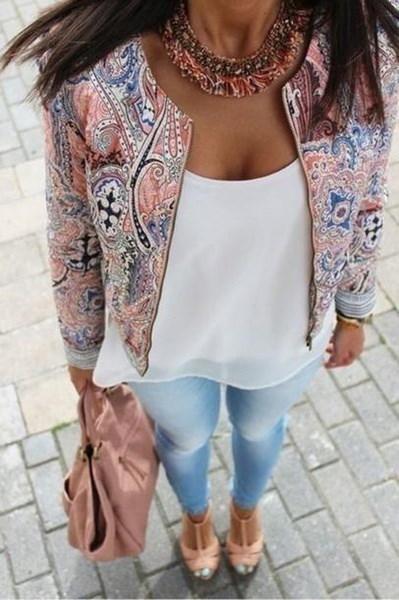 新着エスニックフラワープリント刺繍入りジャケット薄いパットコートトップ