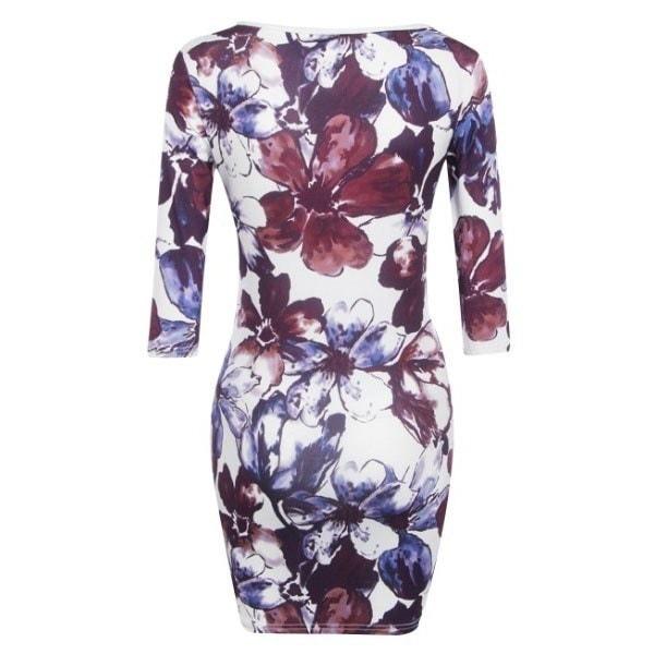 セクシーな女性の花の花のプリントドレスオフショルダースリムペンシルドレス
