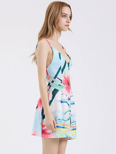 Multicolor Floral Print Straps Backless Polyester Dress