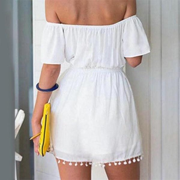 夏のスタイルの女性は、肩の弾性ウエストフリルドレスオフ