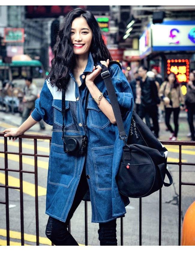 レディース服 女性 アウター デニムコート オーバー 秋服 お洒落 ファッション 韓国風 デニム オーバーサイズ 配色 ダークブルー 原宿風 カジュアル