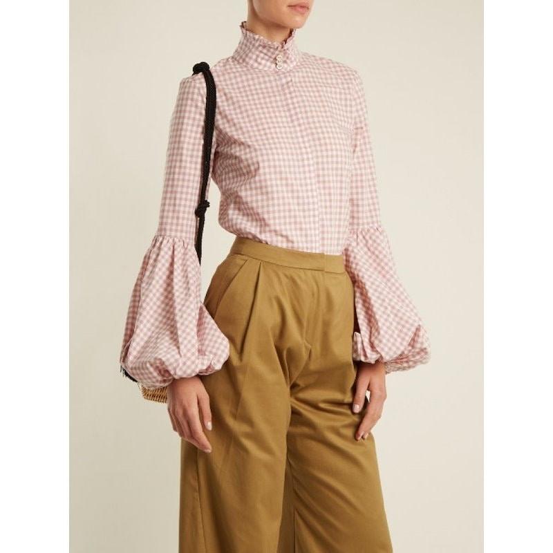 キャロライン コンスタス レディース トップス ブラウス・シャツ【Jaqueline gingham-checked cotton shirt】Dusty antique-pink