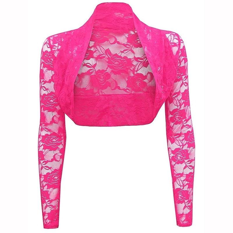 女性ファッションセクシーな花のレースの肩のひらのウェディングボレロロングスリーブコートカーディガントリミングトップ