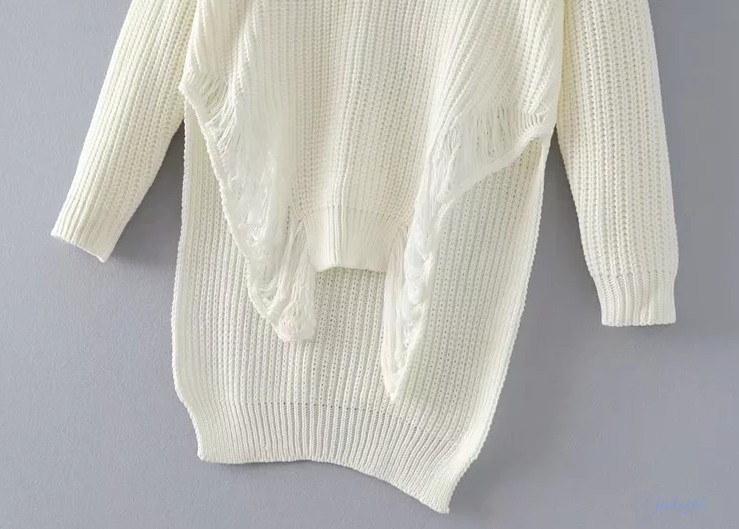 全2COLOR   欧米風  Vネックゆるニット 不対称裾 ゆるっと着こなし ニットチュニック カジュアル ニットトップス ホワイト、ブラック