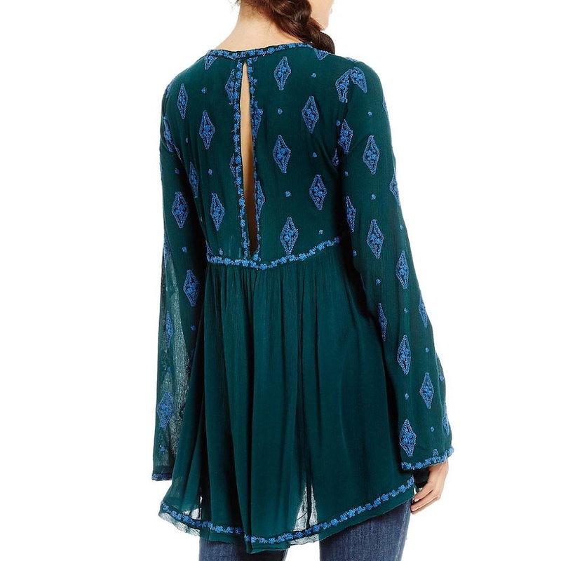 フリーピープル レディース トップス ブラウス・シャツ【Free People Diamond Embroidered Bell Sleeve Tunic】Dark Green