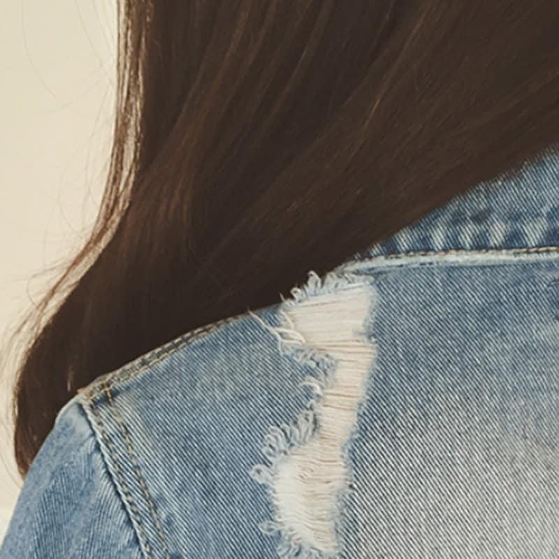 2017レディースロングスリーブリップホールデニムジャケットスリムコットンショートジーンズジャケットコート