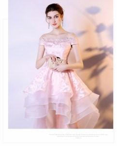 お呼ばれドレス オフショルダー 豪華 優雅 ミニドレス 前短後長 着痩せ 同窓会 誕生日 成人式 編み上げ 結婚式 刺繍半袖ドレス パーティドレス 結婚式二次会 フォーマル ワンピース ワンピドレス