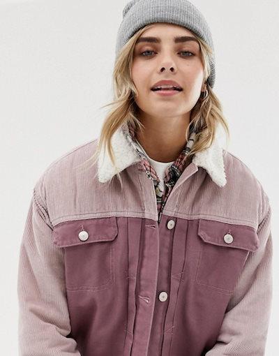 プルアンドベアー レディース ジャケット・ブルゾン アウター Pull&Bear cord burg collar jacket in pink