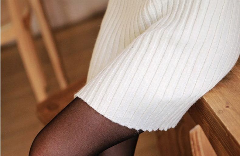 タートルネック ニットワンピ ストレッチ セーター ワンピース ピッタリ セクシー 大人可愛い オフタートル あたたかい あったか ショートワンピ ロングセーター ナチュラル 無地 フリーサイズ ブラック 黒 ホワイト 白 オシャレ 秋冬 レディース (68-118) ※納期に10日から14日ほどかかります。
