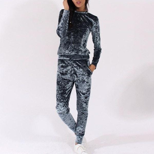 新しいファッション2PCS女性は、ベルベットトラックスーツカジュアルパーカースウェットパンツは、スポーツスーツを設定破砕