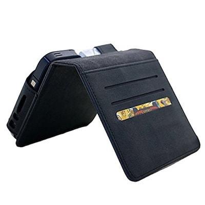 theonehouse iQOS 専用ケース 高級レザー ヌバック アイコス 専用品 ケース 予備ホルダー 収納ポケット付き 財布型 全部収納 (黒) 黒