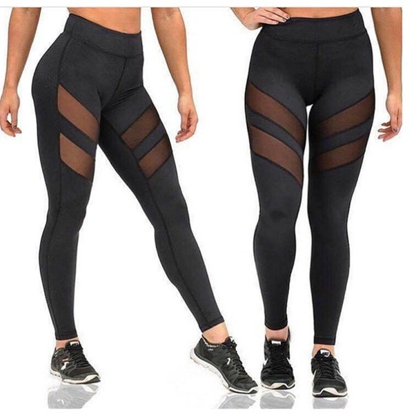 女性のためのスポーツレギンスメッシュスプライスフィットネススリムブラックヨガパンツプラスサイズのスポーツウェア