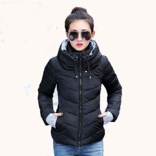 2017ウィンタースタイルの女性は、コート8色BA0495ダウンカラースリムカジュアルコットンジャケットパーカーを立ち上がる