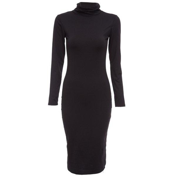 秋Kim Kardashianセクシーな長袖鉛筆の女性BodyconワンピースプラスサイズブラックTurtlenackミディバ