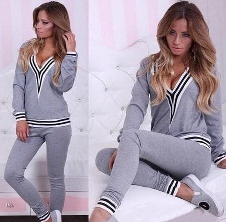 Womens Clothing Sport Suits Black Gray Long Sleeve Sweatshirts