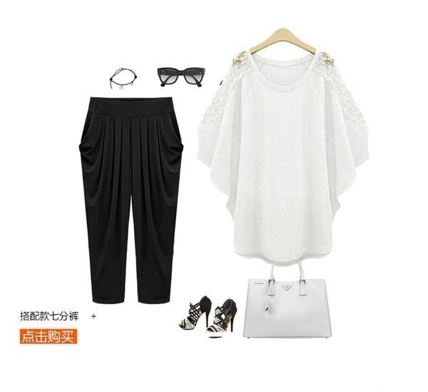 レディースファッションレースブラウストップルーズシャツプラスサイズXS-5XL