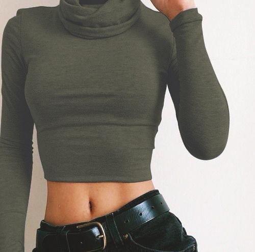 Women Long Sleeve Shirt High Collar Crop Top Slimming Fit Shirt Soild Color Tops Blouse