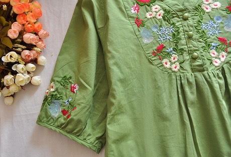 ホットセールヴィンテージ70s女性カラフルなメキシコの民族ジプシードレス花刺繍ボホブラウスカジュアル