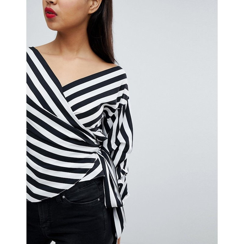 ミスガイデッド レディース トップス【Missguided Striped Exaggerated Sleeve Wrap Top】Black/white