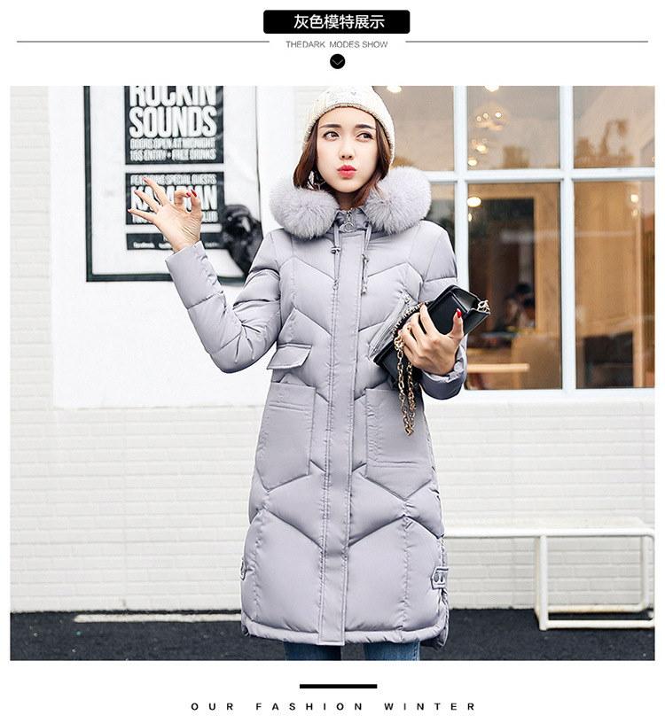 冬の女性フード付きコート毛皮の襟厚みの暖かいロングジャケット女性のコートの女の子ロングスリム大きな毛皮のコートジャケットダウンパーカー