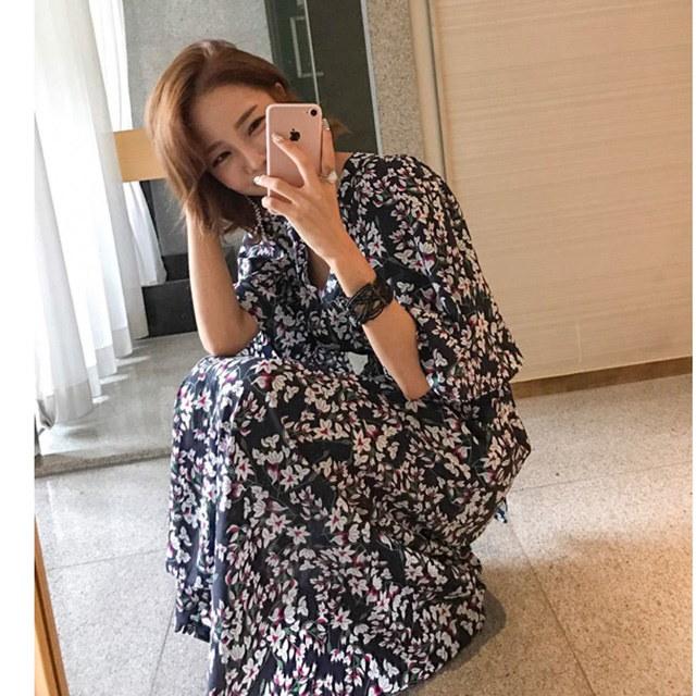 リゾートルックフラワーロングワンピースデイリールックkorea women fashion style