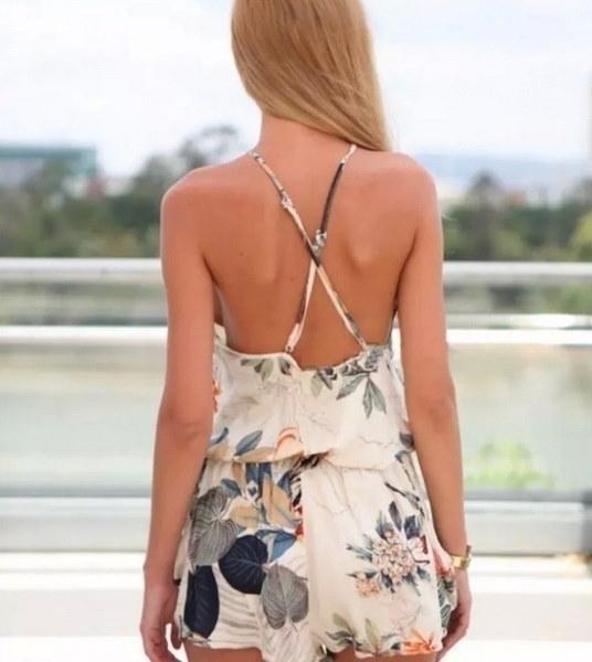 女性のファッション高品質の春夏の新スタイルセクシーなミニ花の背中のレースPlaysuit