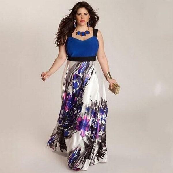 プラスサイズの女性の花の印刷ロングイブニングパーティーウエディングドレスフォーマルドレス