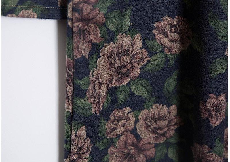 『韓国製』SELLISHOP  Lux 花柄 ワンピース「大きいサイズ 大人 韓国 ファッション・結婚式・フォマール 黒 フレア 30代 40代 50代 スレンダー・Aライン,シャツ・上品・ロング ミ