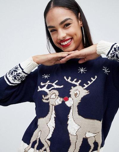 クラブエル レディース ニット・セーター アウター Club L christmas sweater with kissing rudoplh
